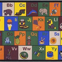 """Jenny Collection Children Rug Multi Color Children's Educational Alphabet with Pictures Design Machine-washable Non-slip Kids Area Rug (3'3""""x4'7"""")"""
