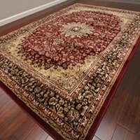 Feraghan Burgundy Red Traditional Isfahan Wool Persian Area Rugs Rug 4018 9'2 x 12'6