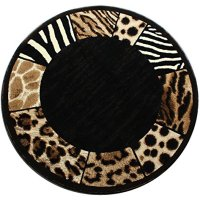 Modern Animal Print, Round Area Rug, Design S 73 Black (5 Feet Diameter)
