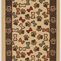 "Pet Collection Bones and Paws Mat Doormat Beige Multi Color Slip Skid Resistant Rubber Backing (Beige, 20"" x 59"" Runner)"