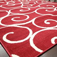 Radiance Art Pattern Collection Contemporary Modern White True Red Wool Area Rug Rugs 1051Red 2 x 3
