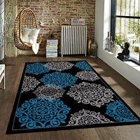 Turquoise Gray Black 7'10x10'2 Area Rug Modern Carpet Large New