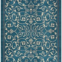 "Conur Collection Floral Scroll Area Rug Rugs Modern Contemporary Traditional Area Rug Rugs Veronica 3 Color Options (Petrol Blue, 7'10"" x 9'10"")"
