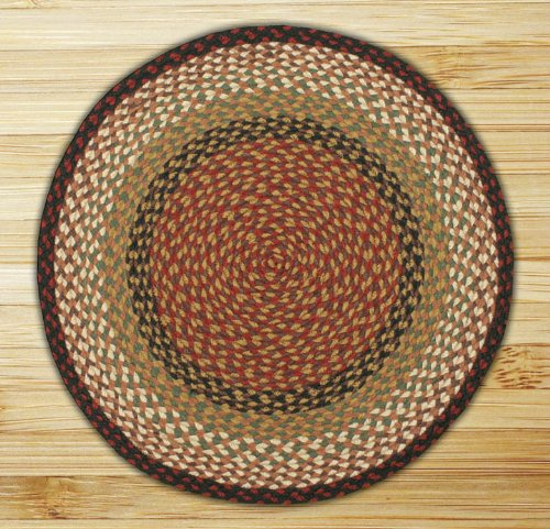Earth Rugs Round Area Rug, 4u0027, Burgundy/Mustard