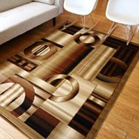 New City Contemporary Brown and Beige Modern Squares Circles Area Rug 5'2 x 7'3