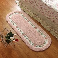 Stay Young® 45*125cm Floral & Rural Rug Beautiful & Romantic Rose Flower Rug Shaggy Area Rug Soft Doormat Floor Mat Bedroom Carpet / Non Slip Absorbent Bath Mat Bath Rug Bathroom Shower Rug Mat Carpet (Pretty Pink)
