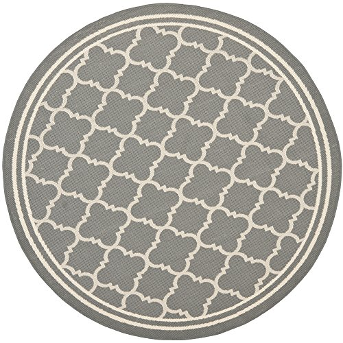 Safavieh Courtyard Collection CY6918 246 Anthracite And Beige Round Area Rug,  4 Feet In