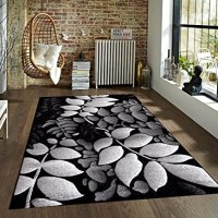 Gray White Black 7'10x10'2 Area Rug Leaves Carpet Large New