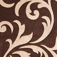 """Maxy Home Hand Carved Luxury Durable Frieze Pile Floral Tribal 3'11"""" x 5'7"""" Area Rug Mocha Brown & Beige LAM451-MOC4X6"""