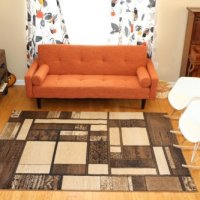 New City Contemporary Brown and Beige Modern Square Boxes Area Rug 5'2 x 7'3