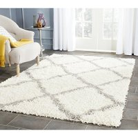 Safavieh Dallas Shag Collection SGD257F Ivory and Grey Area Rug, 8 feet by 10 feet (8' x 10')