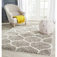 "Safavieh Hudson Shag Collection SGH280B Grey Background and Ivory Area Rug, 5 feet 1 inch by 7 feet 6 inches (5'1"" x 7'6"")"