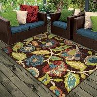 "Orian Rugs Indoor/Outdoor Floral Basil Brown Area Rug (5'2"" x 7'6"")"