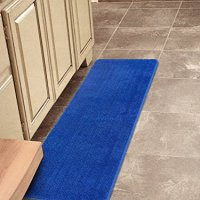 "Softy Collection Dark Blue Color Solid Mat Rug Plain Soft Quality Bath Mats Washable Rubber Back Toilet Rugs 20""X59"" Machine-Washable Non-Slip Bathroom Mat Rug And Runner Rugs"