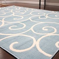 Radiance Art Pattern Collection Contemporary Modern White Light Blue Wool Area Rug Rugs 1051 Blue 5'2 x 7'3