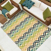 "Orian Rugs Indoor/ Outdoor Geometric Bermuda Aqua Area Rug (5'1"" x 7'6"")"