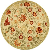 Safavieh Chelsea Collection HK716A Hand-Hooked Ivory and Green Wool Round Area Rug, 4 feet in Diameter (4' Diameter)