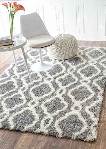 moroccan trellis soft and plush grey shag rug 5 feet 3 inches by 7 feet - Grey Shag Rug