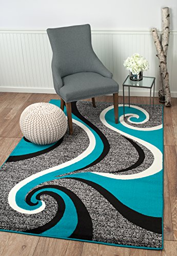 """Actual Size 2/' 7/"""" x 4/' 2/"""" Beige 3x4 Corners Contemporary Abstract Area Rug"""
