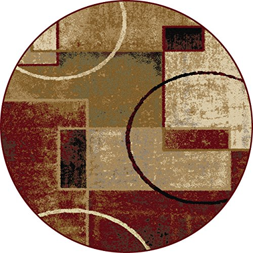 Universal Rugs Contemporary Abstract 5 Ft. 3 In. Round Area Rug , Multi
