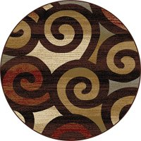 Universal Rugs Contemporary Scroll 5 ft. 3 in. Round Area Rug , Multi