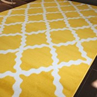 Generations Contemporary Pattern Modern Area Rug, 5' x 7'2', Bumblebee Yellow/White