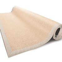 casa pura® Amazonas 100% Natural Sisal Rug with Cotton Border | 6'x9' | Natural | Non Slip Latex Backing | 3 Sizes, 2 Colors