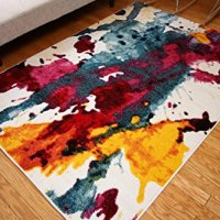 Radiance ant6008_6x8 Art Collection Contemporary Modern Splat Wool Area Rug, 5'2 x 7'3, Multicolor