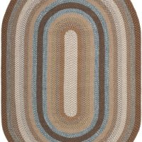 Safavieh Braided Collection BRD313A Hand Woven Brown and Multi Oval Area Rug, 8 feet by 10 feet Oval (8' x 10' Oval)