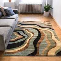 "Hudson Waves Blue / Brown Geometric Modern Casual Area Rug 5x7 ( 5'3"" x 7'3"" ) Easy to Clean Stain / Fade Resistant Shed Free Abstract Contemporary Natural Lines Multi Soft Living Dining Room Rug"