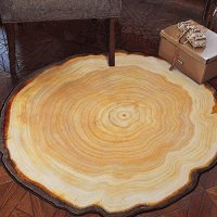 TideTex Modern Simple Round Area Rug Rural Style Tree Rings Design Bedroom Rug Bedside Rugs Cozy Living Room Carpet Non-slip Kids Play Floor Mat (3'0x3'3, Round)