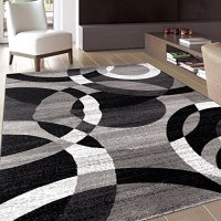 "Rugshop Contemporary Modern Circles Abstract Area Rug, 5' 3"" x 7' 3"", Gray"