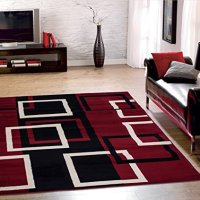 Sweet Home Stores Clifton Collection Modern Boxes Design Area Rug (5' W x 7' L), Dark Red