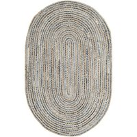 Safavieh Cape Cod Collection CAP250A Hand Woven Natural and Blue Jute Oval Area Rug (4' x 6')
