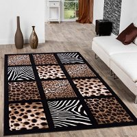 "Allstar Black Dots Square Animal Prints Design Modern Geometric Area Rug (5' 2"" x 7' 2"")"