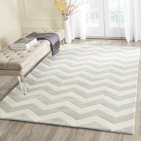 Safavieh Chatham Collection CHT715E Handmade Grey and Ivory Premium Wool Area Rug (8' x 10')