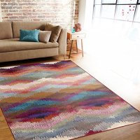 "Rugshop Distressed Modern Geometric Soft Area Rug, 5'3"" x 7'3"", Multicolor"
