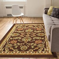 Non-Skid / Slip Rubber Back Antibacterial 5x7 ( 5' x 7' ) Area Rug Timeless Oriental Brown Traditional Classic Sarouk Thin Low Pile Machine Washable Indoor Outdoor Kitchen Hallway Entry