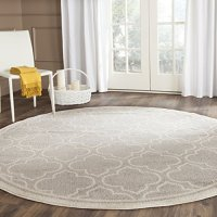 Safavieh Amherst Collection AMT412B Light Grey and Ivory Indoor/ Outdoor Round Area Rug (5' Diameter)