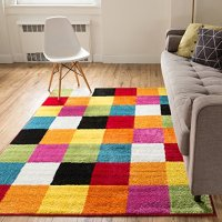 Well Woven Squares Soft Multi Geometric Accent Area Rug, 5'X7'