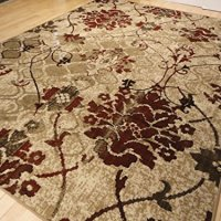 Modern Burgundy Rug For Living Room 5x7 Red Cream Beige Area Rugs Tree Leaves Branch Rug Contemporary Rugs Burgundy Cream Beige 5x8 Rug