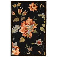 "Safavieh Chelsea Collection HK306B Hand-Hooked Black Premium Wool Area Rug (2'6"" x 4')"