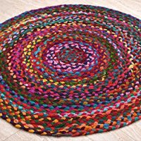 Hand Woven Reversible Cotton Red with Multi Color Braid Rag Rug - 3 Feet Round - This Rug is made from multi color re-cycled yarns, actual product may vary in color from the image shown