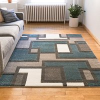 """Uptown Squares Blue & Grey Modern Geometric Comfy Casual Hand Carved Area Rug 8x10 8x11 ( 7'10"""" x 9'10"""" ) Easy to Clean Stain Resistant Abstract Boxes Contemporary Thick Soft Plush Living Dining Room"""