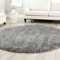 Safavieh California Shag Collection SG151-8484 Dark Grey Round Area Rug (4' Diameter)