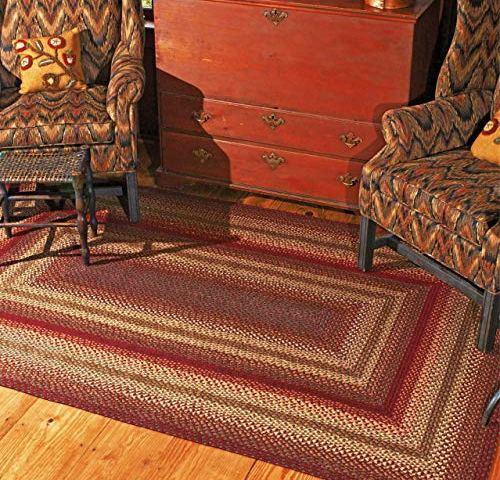 "Homespice CHERRY PIE Braided 13/"" x 36/"" Rectangular Table Runner Barn Red /& Beige"