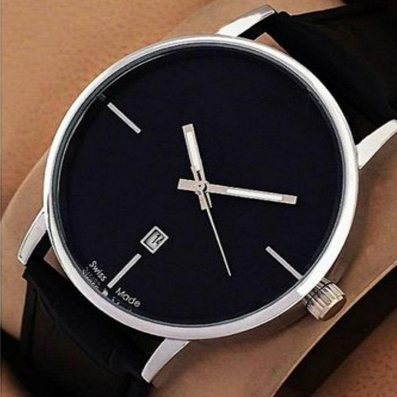 Black Leather Date Watch for Men 999