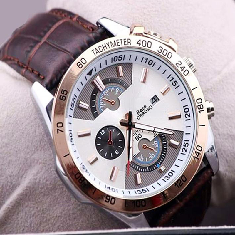 Race Brown Leather Strap Watch