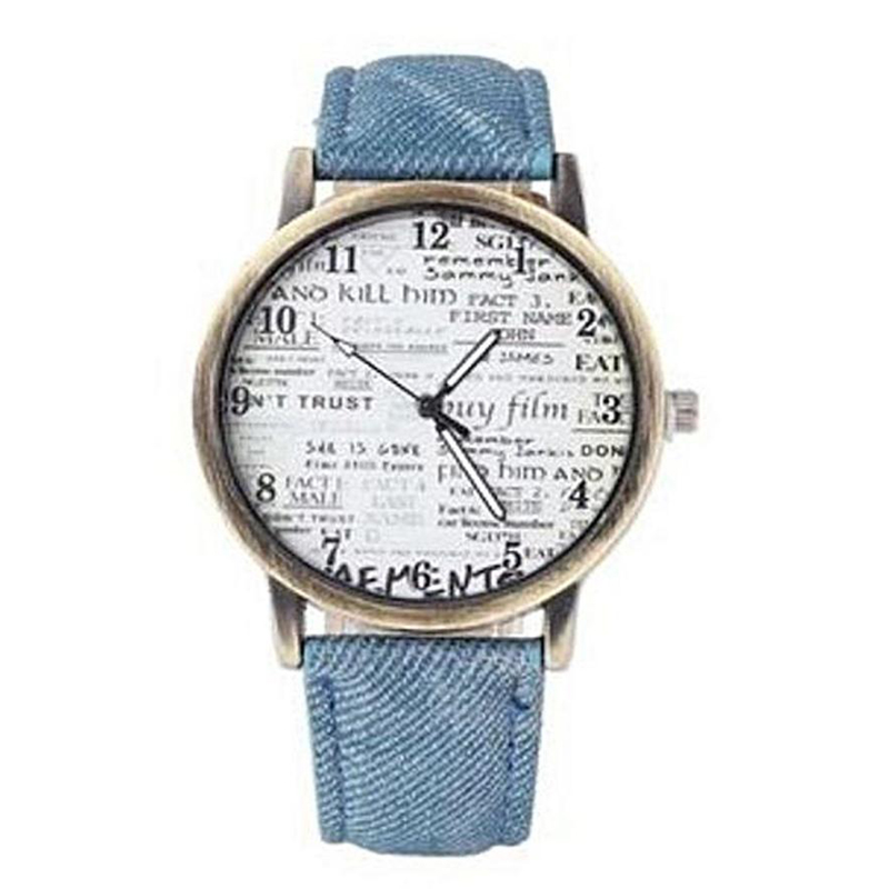 Watch Blue Leather Strap Analog for Girls