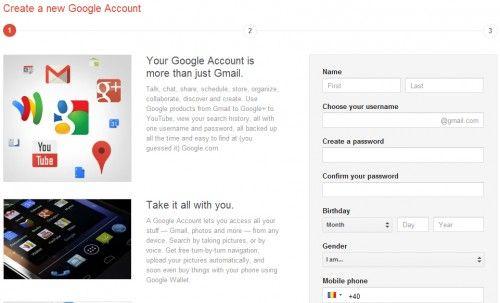 Google: o noua pagina de inregistrare